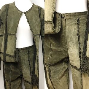 VTG SMH Genuine Leather Pants Jacket Suit Set M 6